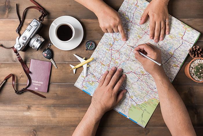旅行する家族